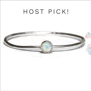 925 Sterling Silver White Fire Opal Ring